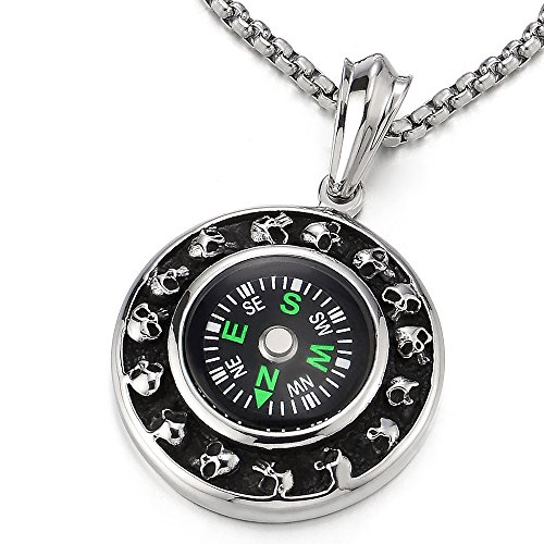 (COOLSTEELANDBEYOND Silver Black Circle Skull Compass Pendant Mens Boys Necklace Stainless Steel, 30 inches Wheat Chain)