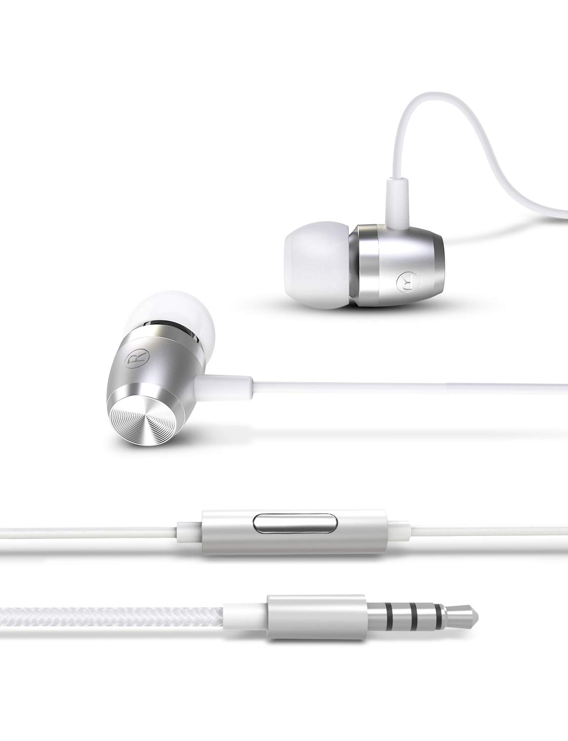 Earphones Headphones with Microphone and Call Controller Bass in-Ear Wired Earbuds Noise Canceling Headphones for iPhone, iPad, Samsung, MP3 Players, Nokia, HTC, Nexus, BlackBerry(Silver)