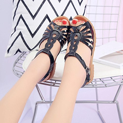 LANDFOX Mujeres Recorte Sandalias Abajo Toe Low Wedges Hollow Summer Shoes Negro
