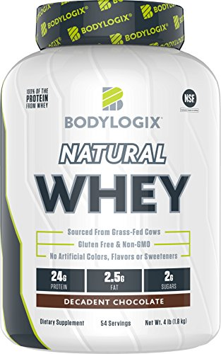 - Bodylogix Natural Grass-Fed Whey Protein Powder, NSF Certified, Decadent Chocolate, 4 lb