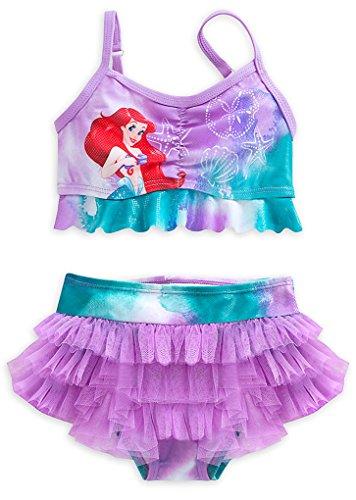 Price comparison product image Disney Store Little Girls Ariel Glitter Accents Swimsuit - 2-Piece, Size 4