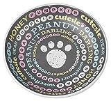 PetRageous Pet Names Saucer, 5″/2.5 oz, Dark Gray/Multicolor
