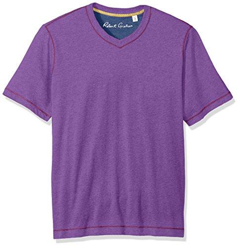 Robert Graham Men's Short Sleeve Classic Fit Jersey Tee Shirt, Heather Violet, Small