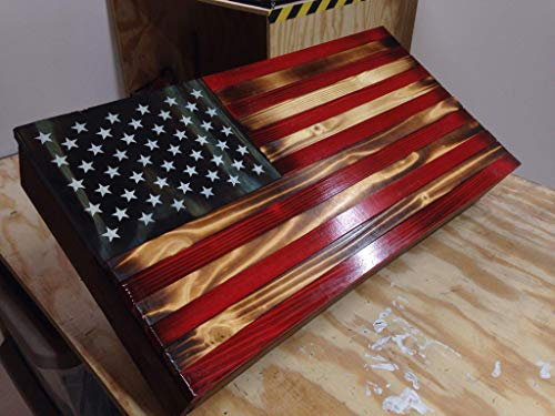 Rustic Wood American Flag Concealment Cabinet