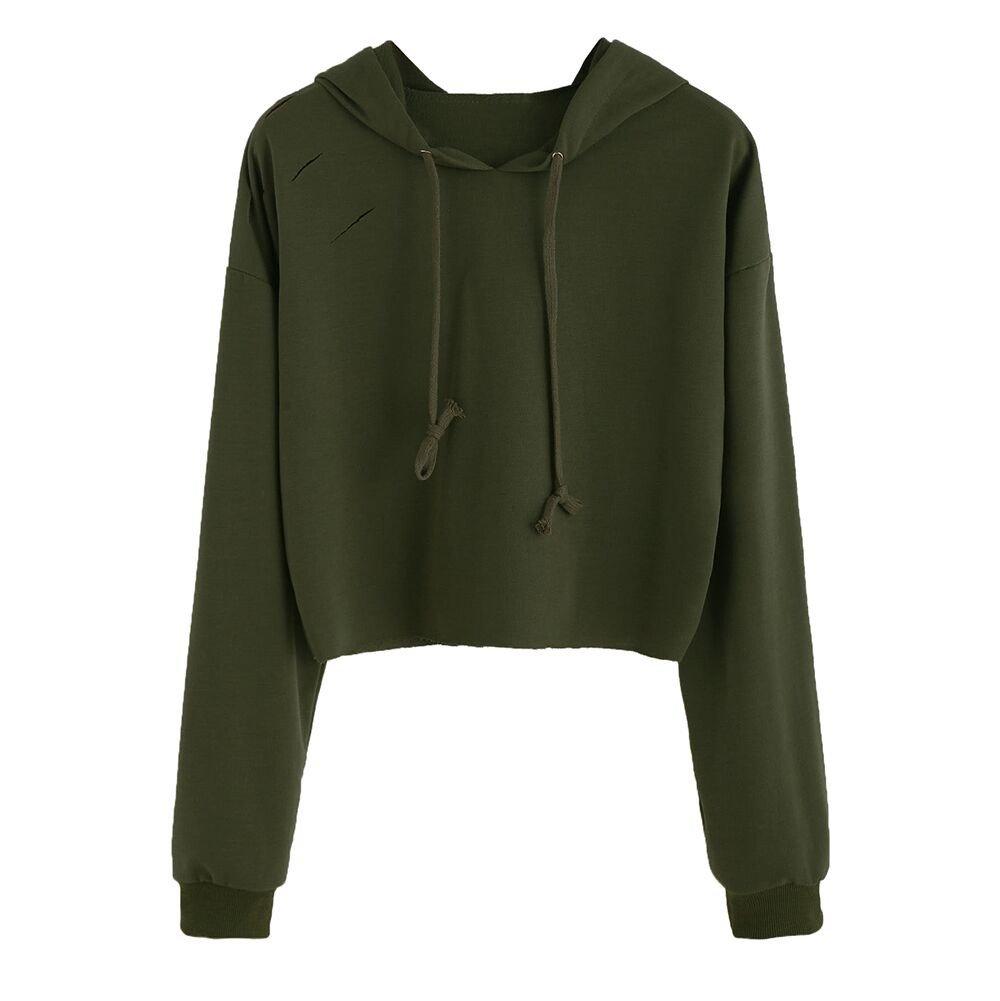 Fashion Womens Girls Long Sleeve Hoodie Sweatshirt Shredded Casual Solid Loose Jumper Hooded Crop Pullover Tops