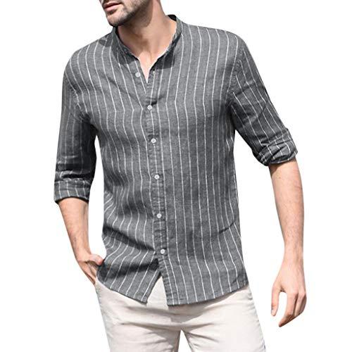 MIUCAT Men's Button Down T Shirts Baggy Cotton Linen Striped Long Sleeve Retro Tops Blouse Gray (Akademiks Striped Polo Shirt)