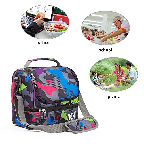NEX Lunch Bag Insulated Lunch Box for Child, Man and Women Picnic Bag with Adjustable Shoulder Strap and Zip Closure Travel Lunch Tote (LUNCHBAG-13)