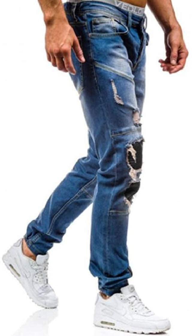 Pandapang Men Jeans Destroyed Hip Hop Broken Hole Washed Casual Denim Pants