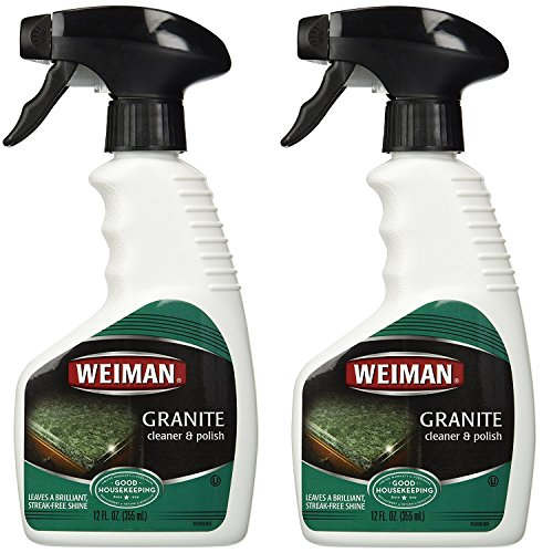 Weiman Granite Cleaner & Polish- Daily Use, Streak-Free Formula for Countertops, Marble, Quartz, Laminate, and Tile, 12 oz Triffer Spray (2 Pack)