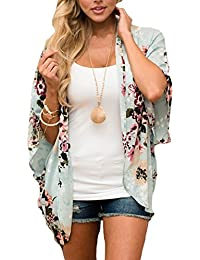 Women Floral Kimono Loose Half Sleeve Shawl Chiffon Casual Cardigan