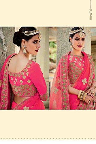 IWS Silk Fabric Deep Pink Pretty Lehenga Style With Embroidery Work Dupatta 79605
