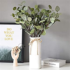 Artificial Greenery Stems 6 Pcs Straight Silver Dollar Eucalyptus Leaf Silk Greenery Bushes Plastic Plants Floral Greenery Stems for Home Party Wedding Decoration 4