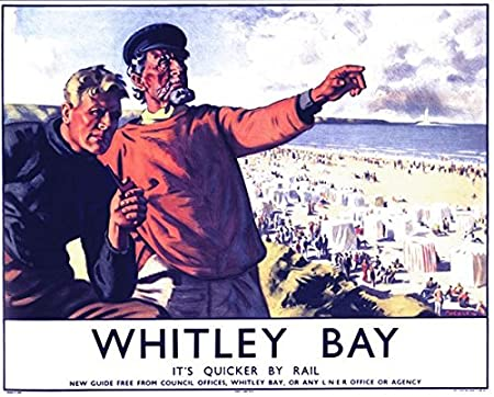 Vintage LNER Whitley Bay Railway Poster A4//A3//A2//A1 Print
