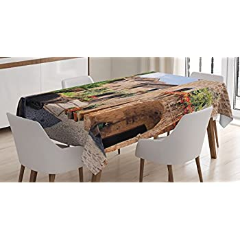 Farm House Decor Tablecloth By Ambesonne, Italian Streets In Countryside  With Traditional Brick Houses Old