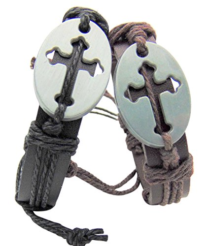 Set of 2 Youth Cross Bracelets One Brown & One Black -