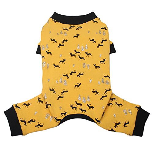 TONY HOBY Dog Pajamas Dog Jumpsuits Elk Print Four Legs Dog pjs Cotton Made Dog Clothes for Small Medium Large Dogs by TONY HOBY