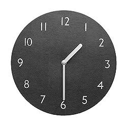 Decorative Wall Clock Silent & Non-Ticking Quartz Clock PU Leather Lightweight 0.4lb Round 9 (Grey)