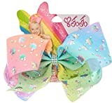 Jojo Siwa Exclusive Hair bow Chasing Unicorns Pastel Rainbow Rhinestone