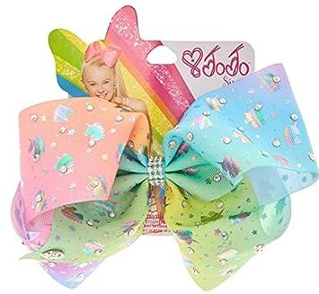 9aec7263e2c Amazon.com   Jojo Siwa Exclusive Hair bow Chasing Unicorns Pastel Rainbow  Rhinestone   Beauty