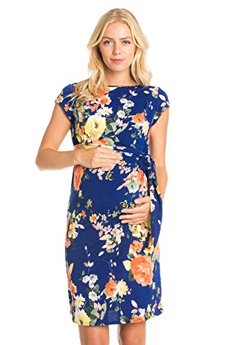 My Bump Side Bow Tie Pattern Cap Sleeve Maternity Dress (Small, Royal Flower)