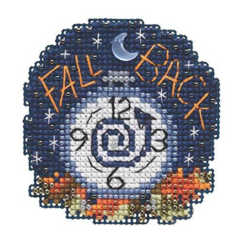 Fall Back Beaded Counted Cross Stitch Ornament Kit Mill Hill 2019 Autumn Harvest -