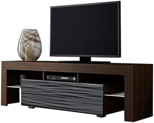 MEBLE FURNITURE RUGS Milano 160 Modern 63″ TV Stand Matte Body High Gloss Front