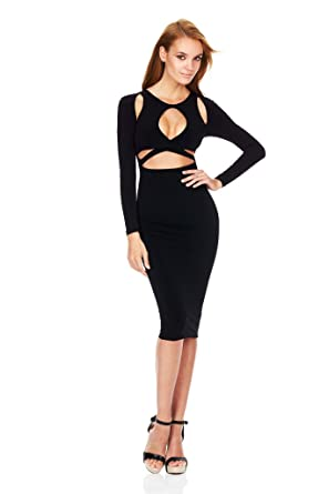 ALAIX Womens Keyhole Open-Chest Bodycon Long sleeve Slim Party Evening Dress Black-M