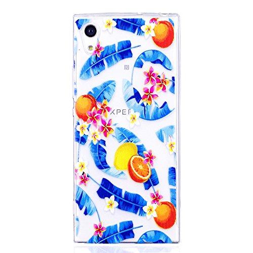 Funda Sony Xperia XA1 , Carcasa Sony Xperia XA1, Cristal Suave Gel Silicona TPU Carcasa para Sony Xperia XA1 (5.0 Pulgadas) E-Lush Ultra Claro delgado Blanda Case Cover [Slim Fit] Transparente Flexibl Naranjas