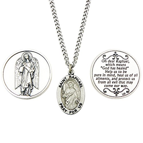 Rosemarie Collections Saint Raphael the Archangel Pendant Necklace and 2 Religious Pocket Tokens (Pendant Medal Raphael)