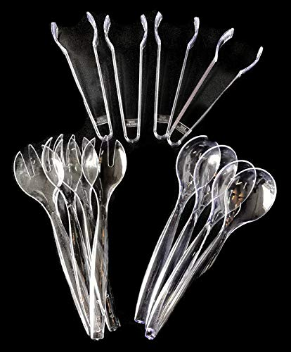 "Set of 12 - Heavy Duty Disposable Plastic Serving Utensils, Four 10"" Spoons and Forks, Four 6-1/2"" Tongs, Clear -"