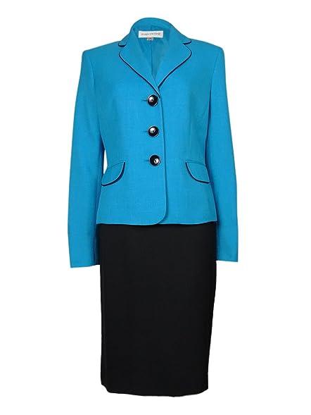 Amazon Com Evan Picone Women S 2 Piece Piped Jacket Skirt Suit Set
