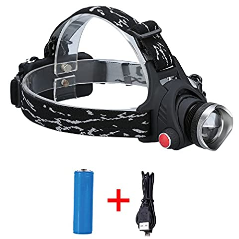 Durapower Super bright 2 Modes Led Headlamp with Zoomable Focusing & Adjustable Lighting Angle & Water Resistant Function and Li-Ion Battery - Focusing Headlamp