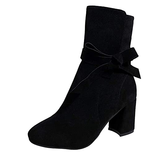 LHWY Damen Stiefel mit Absatz Ankle Stiefeletten Elegant