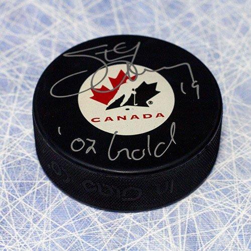 Gold Autographed Puck (Steve Yzerman Team Canada Autographed Hockey Puck W/ 02 Gold Inscription - Authentic Autographed Autograph)