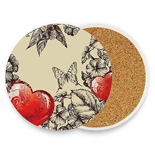 - BeautyToiletLidCoverABC Pattern Valentines Day with Flowers and Butterfly Holiday Love Antiquity Coaster for Drinks,Wallpaper Ceramic Round Cork Table Cup Mat Coaster Pack Of 1