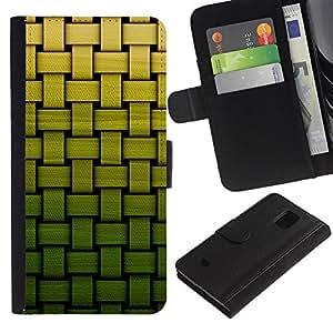 iBinBang / Flip Funda de Cuero Case Cover - Cesta Modelo verde de bambú - Samsung Galaxy S5 Mini, SM-G800, NOT S5 REGULAR!