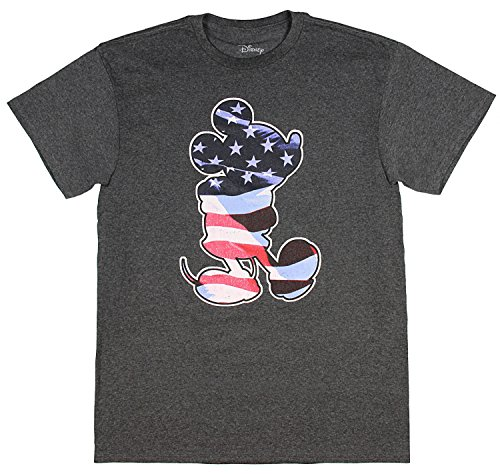 Disney Mickey Mouse Cartoon Waving American Flag Silhouette Men's T-Shirt - Mickey Flag Mouse