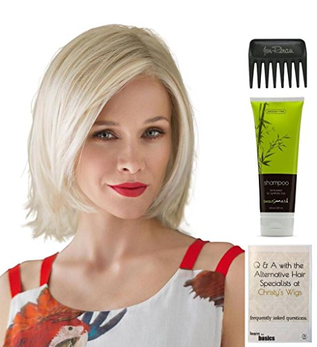 Bundle - 4 Items: United Wig By Ellen WIlle, Christy's Wigs Q & A Booklet, BeautiMark Synthetic Shampoo & Wide Tooth Comb - Color: mocca rooted