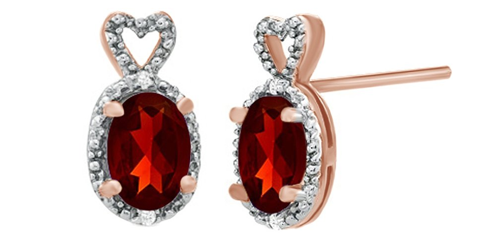 Oval Simulated Garnet & White Natural Diamond Accent Heart Top Frame Stud Earrings In 10K Solid Gold