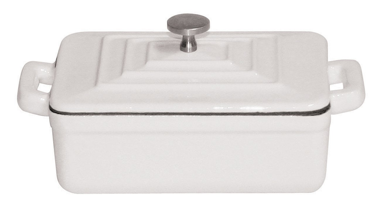Paderno World Cuisine 0.375-Quart Rectangular Cast-Iron Casserole, White
