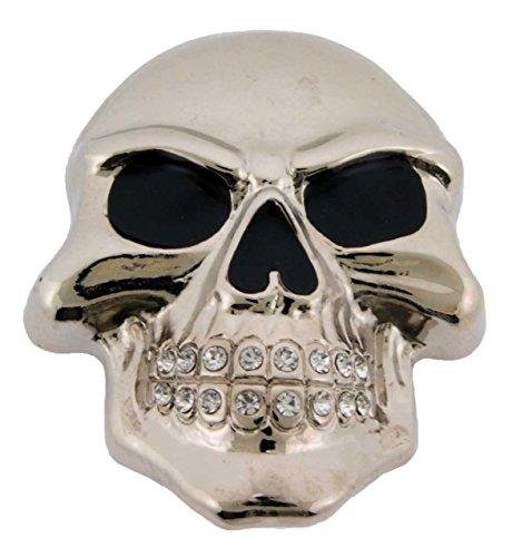 Mens Womens Skull Belt Buckle Skeleton Silver Rhinestone Gothic Tribal Tattoo