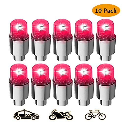 (HIbuy LED Wheel Lights - Car Bike Wheel Tire Tyre Valve Dust Cap, Safety, Waterproof, Motion Activated, Spoke Flash Lights Car Valve Stems & Caps Accessories Red 10 Pack)