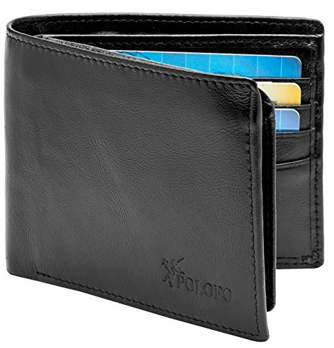 RFID Blocking Genuine Leather Bifold Wallet for Men with Zipper and 2 ID Windows (Black Napa Leather)
