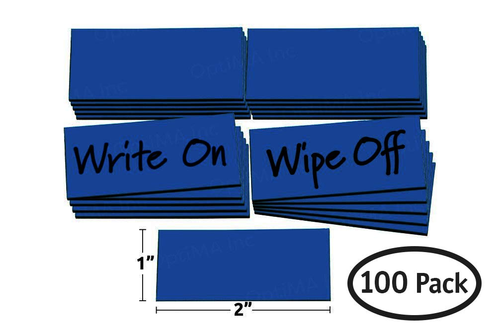 Bulk 1' x 2' White Damp Erase Write On Wipe Off Colored Magnet Strips 100/Pkg