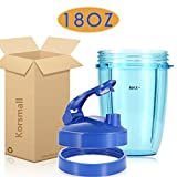 Replacement Accessories for Nutribullet 600W 900W, 18oz Short Cup + Blue Flip Top to Go Lid + Blue Lip Ring