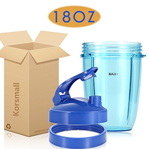 Replacement Accessories for Nutribullet 600W 900W, 18oz Short Cup + Blue Flip Top to Go Lid + Blue Lip Ring by KORSMALL