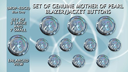 Set of Genuine Blue/Grey Mother of Pearl Blazer/Jacket Buttons (Black Lip) 3 Large (ø23mm) & 7 Small (ø15mm) Buttons