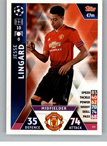 2018-19 Topps UEFA Champions League Match Attax #171 Jesse Lingard Manchester United FC Soccer Trading Card
