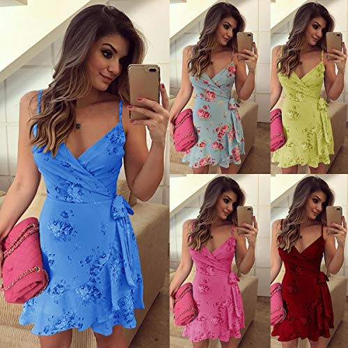 Summer Women Sexy Floral Short Dress Spaghetti Strap Sweetheart Sheath Dress (Rose red,S)