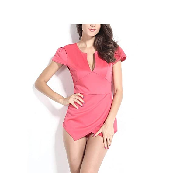 726990163cb Spice it up Women s Cap Sleeve Cut Front Skort Pink Playsuit (LC6437 ...